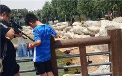 欧博娱乐动植物园内游客用玩具气枪打天鹅_副本.jpg